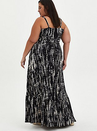 Plus Size Black Tie-Dye Jersey Maxi Dress, BLACK TIE DYE, alternate
