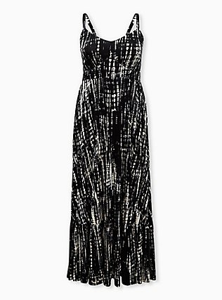 Plus Size Black Tie-Dye Jersey Maxi Dress, BLACK TIE DYE, flat
