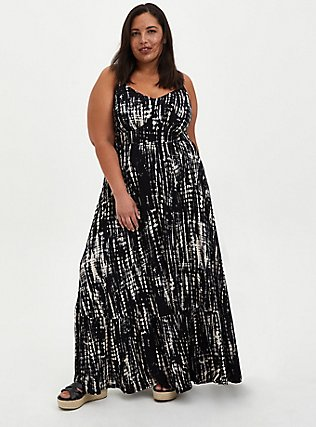 Plus Size Black Tie-Dye Jersey Maxi Dress, BLACK TIE DYE, hi-res