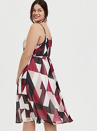 Plus Size Burgundy Multi Geo Chiffon Dress, GEO - WHITE, alternate