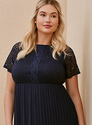 Plus Size Special Occasions Navy Lace & Chiffon Pleated Midi Dress, PEACOAT, alternate