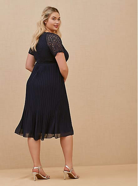 Special Occasions Navy Lace & Chiffon Pleated Midi Dress, PEACOAT, alternate
