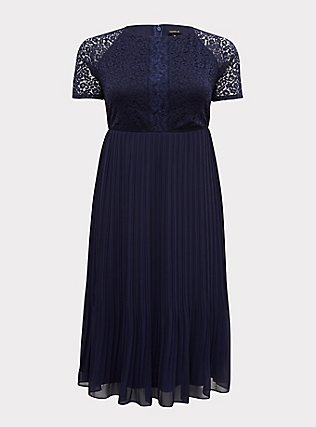 Plus Size Special Occasions Navy Lace & Chiffon Pleated Midi Dress, PEACOAT, flat