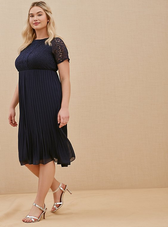 Plus Size Special Occasions Navy Lace & Chiffon Pleated Midi Dress, , hi-res