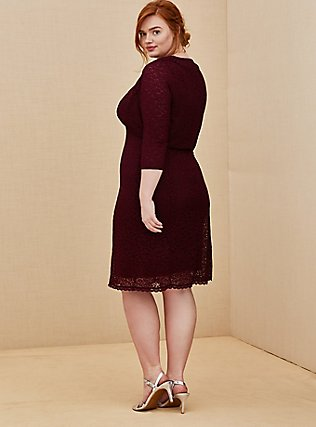 Special Occasion Burgundy Red Lace Dress & Shrug Set, BURGUNDY, alternate