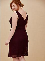 Special Occasion Burgundy Red Lace Dress & Shrug Set, BURGUNDY, alternate