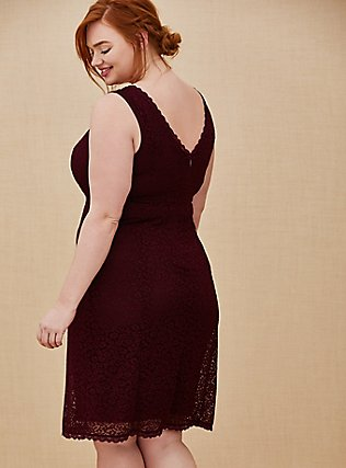 Plus Size Special Occasion Burgundy Red Lace Dress & Shrug Set, BURGUNDY, alternate