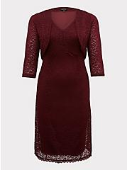 Special Occasion Burgundy Red Lace Dress & Shrug Set, BURGUNDY, hi-res