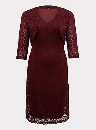 Special Occasion Burgundy Red Lace Dress & Shrug Set, BURGUNDY, flat