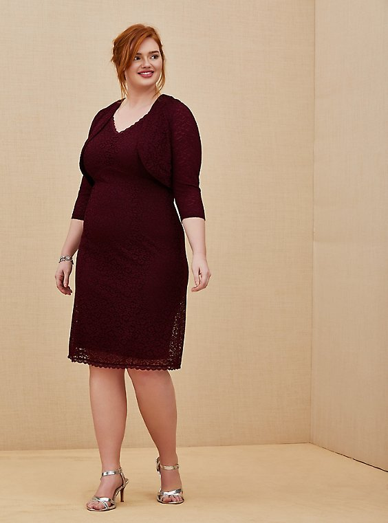 Plus Size Special Occasion Burgundy Red Lace Dress & Shrug Set, , hi-res