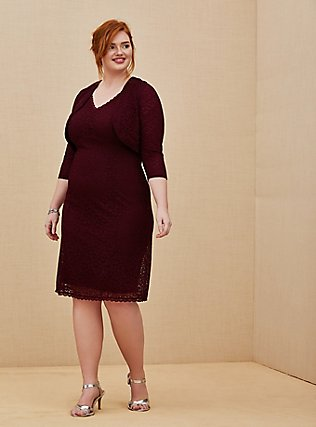 Plus Size Special Occasion Burgundy Red Lace Dress & Shrug Set, BURGUNDY, hi-res
