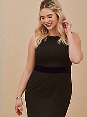 Plus Size Special Occasion Black Crepe Scuba Knit & Velvet Stripe Gown, DEEP BLACK, alternate