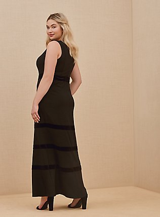 Plus Size Special Occasion Black Crepe Scuba Knit & Velvet Stripe Gown, DEEP BLACK, alternate