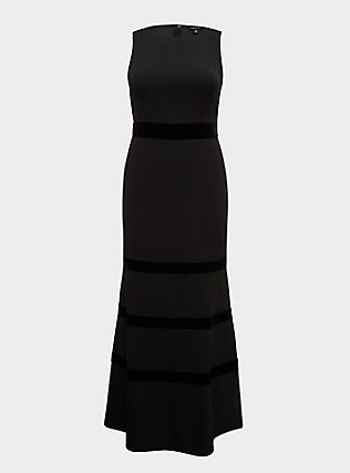 Plus Size Special Occasion Black Crepe Scuba Knit & Velvet Stripe Gown, DEEP BLACK, flat
