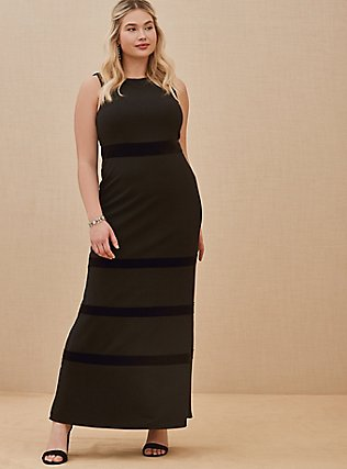 Plus Size Special Occasion Black Crepe Scuba Knit & Velvet Stripe Gown, DEEP BLACK, hi-res