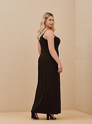 Plus Size Special Occasion Black Crepe Rhinestone Slit Gown, DEEP BLACK, alternate