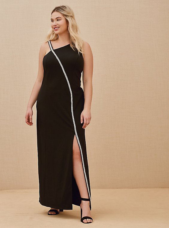 Special Occasion Black Crepe Rhinestone Slit Gown, , hi-res