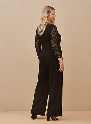 Plus Size Special Occasion Black Lace & Ponte Wide Leg Formal Jumpsuit, DEEP BLACK, alternate