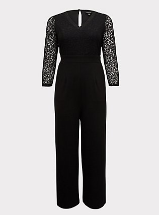 Plus Size Special Occasion Black Lace & Ponte Wide Leg Formal Jumpsuit, DEEP BLACK, flat