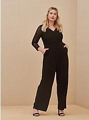 Special Occasion Black Lace & Ponte Wide Leg Formal Jumpsuit, DEEP BLACK, hi-res