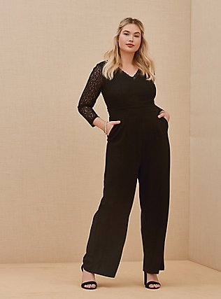 Plus Size Special Occasion Black Lace & Ponte Wide Leg Formal Jumpsuit, DEEP BLACK, hi-res