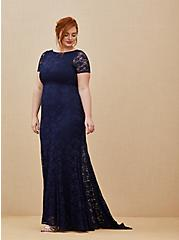 Special Occasion Navy Lace Short Sleeve Fit & Flare Formal Gown, PEACOAT, alternate