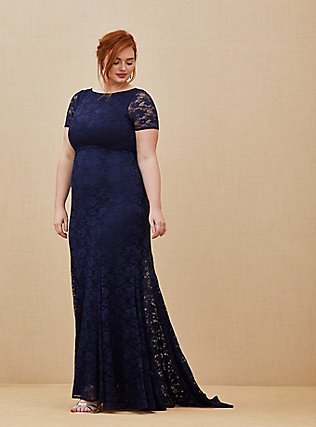 Plus Size Special Occasion Navy Lace Short Sleeve Fit & Flare Formal Gown, PEACOAT, alternate