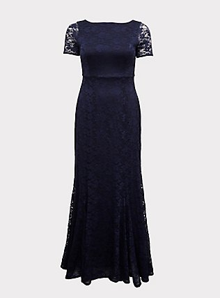 Plus Size Special Occasion Navy Lace Short Sleeve Fit & Flare Formal Gown, PEACOAT, flat