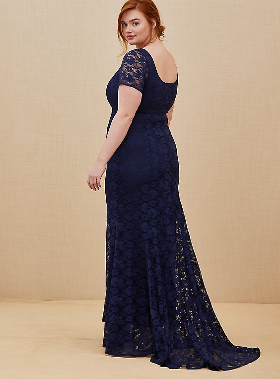 Special Occasion Navy Lace Short Sleeve Fit & Flare Formal Gown, , hi-res