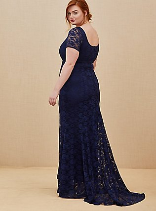 Plus Size Special Occasion Navy Lace Short Sleeve Fit & Flare Formal Gown, PEACOAT, hi-res