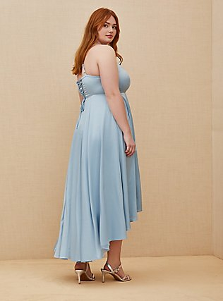 Special Occasions Sky Blue Satin Corset Back Hi-Lo Formal Gown, SKYWAY, alternate
