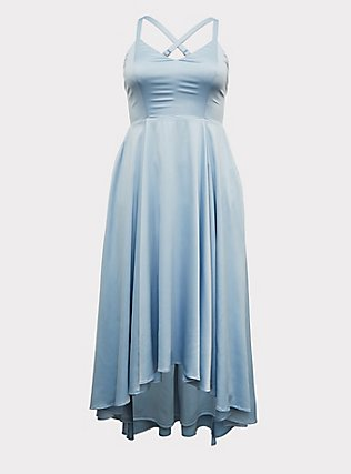 Special Occasions Sky Blue Satin Corset Back Hi-Lo Formal Gown, SKYWAY, flat