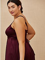 Special Occasion Burgundy Purple Satin Corset Back Hi-Lo Formal Gown, BURGUNDY, alternate