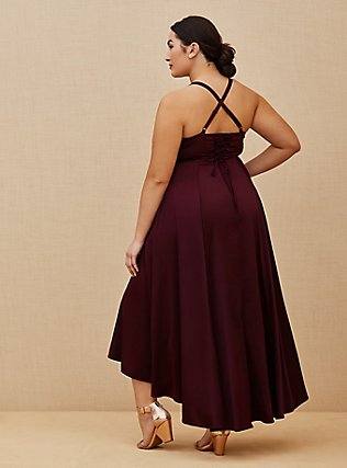 Plus Size Special Occasions Burgundy Purple Satin Corset Back Hi-Lo Formal Gown, BURGUNDY, alternate
