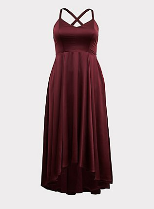 Special Occasion Burgundy Purple Satin Corset Back Hi-Lo Formal Gown, BURGUNDY, flat