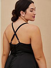 Special Occasions Black Satin Corset Back Hi-Lo Formal Gown , DEEP BLACK, alternate