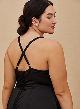 Plus Size Special Occasions Black Satin Corset Back Hi-Lo Formal Gown , DEEP BLACK, alternate