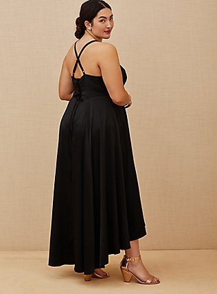 Plus Size Special Occasions Black Satin Corset Back Hi-Lo Formal Gown , DEEP BLACK, hi-res