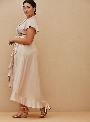 Plus Size Special Occasion Light Pink Satin Hi-Lo Formal Gown , BLUSH, alternate