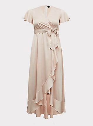 Plus Size Special Occasion Light Pink Satin Hi-Lo Formal Gown , BLUSH, flat