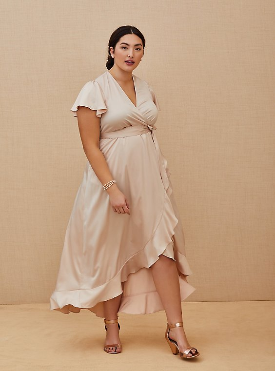 Plus Size Special Occasion Light Pink Satin Hi-Lo Formal Gown , , hi-res