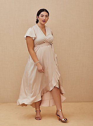 Plus Size Special Occasion Light Pink Satin Hi-Lo Formal Gown , BLUSH, hi-res