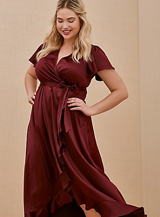 Special Occasion Burgundy Purple Satin Hi-Lo Formal Gown, BURGUNDY, alternate