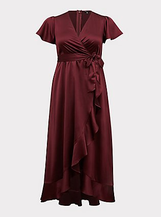 Plus Size Special Occasion Burgundy Purple Satin Hi-Lo Formal Gown, BURGUNDY, flat