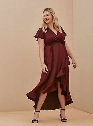 Plus Size Special Occasion Burgundy Purple Satin Hi-Lo Formal Gown, BURGUNDY, hi-res