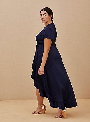 Plus Size Special Occasion Navy Satin Hi-Lo Formal Gown , NAVY, alternate
