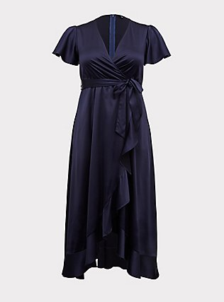 Plus Size Special Occasion Navy Satin Hi-Lo Formal Gown , NAVY, flat