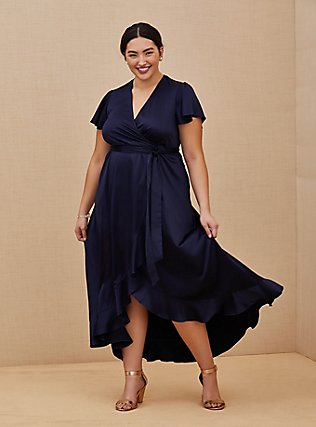 Plus Size Special Occasion Navy Satin Hi-Lo Formal Gown , NAVY, hi-res