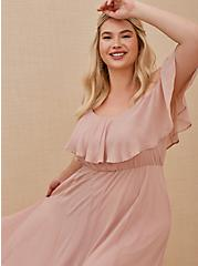 Special Occasion Blush Pink Chiffon Cold Shoulder Formal Gown, BLUSH, alternate