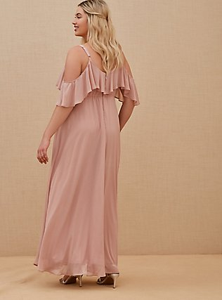 Special Occasion Mauve Pink Chiffon Cold Shoulder Formal Gown, BLUSH, alternate